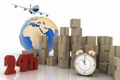 Carton boxes, airplane and  alarm clock Royalty Free Stock Photo