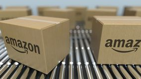 Carton boxes with Amazon logo move on roller conveyor. Conceptual editorial loopable animation