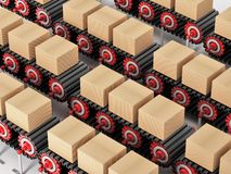 Carton boxes being transported on conveyor belts. 3D illustration.  Royalty Free Stock Photography