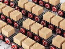 Carton boxes being transported on conveyor belts. 3D illustration.  stock illustration
