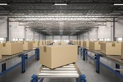 Carton boxes on conveyor belt Royalty Free Stock Photography