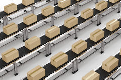 carton boxes on conveyor belts Stock Images