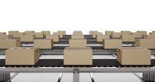 Carton boxes on conveyor belts Royalty Free Stock Photo