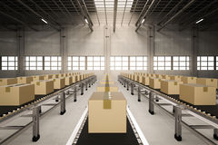 Carton boxes on conveyor belts Royalty Free Stock Image