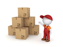 Carton boxes. 3d small person in workwear and carton boxes Stock Photos
