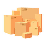 Carton boxes delivery packaging. Pile various of stacked goods cardboard boxes.  illustration isolated on whit. Carton boxes delivery packaging. Pile various of Royalty Free Stock Photography