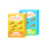 Carton Boxes With Fresh Carrot Juice Supplemental Baby Food Products Allowed For First Complementary Feeding Of Small. Child Cartoon Illustration. Colorful Flat Stock Photos