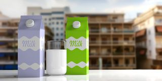 Carton boxes and glass of milk. 3d illustration. Carton boxes and glass of milk on city abstract background. 3d illustration stock illustration