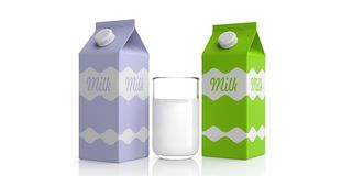 Carton boxes and glass of milk. 3d illustration Royalty Free Stock Images