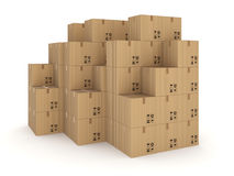 Carton boxes isolated on white background. Carton boxes, isolated on white background 3d rendered illustration Stock Image