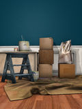 Carton Boxes, Paint Cans And A Ladder Royalty Free Stock Image