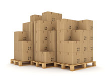 Carton boxes on a pallet. Stock Images