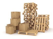 Carton boxes and pallets. Royalty Free Stock Photos