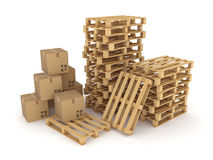 Carton boxes and pallets. Stock Image