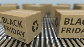 Carton boxes with BLACK FRIDAY text move on roller conveyor. Loopable 3D animation. Carton boxes with text move on roller conveyor stock footage