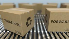 Carton boxes with FORWARDING text move on roller conveyor. Loopable 3D animation. Carton boxes with text move on roller conveyor stock footage