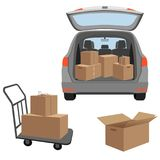 Carton boxex in the boot of the car and on the baggage cart. Removal into a new house. Vector illustration isolated on white background Stock Images