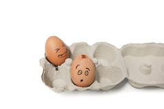 Carton of brown eggs with one cracked egg Stock Photo