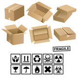 Carton cargo boxes and signs Royalty Free Stock Photography