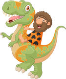 Carton caveman riding a dinosaur Stock Image