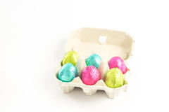 Carton of easter eggs Stock Images
