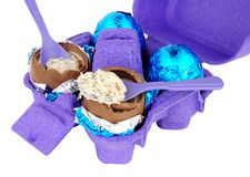 Carton Of Cream Filled Chocolate Eggs Royalty Free Stock Photography