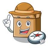 Carton d'explorateur d'isolement avec dans la mascotte illustration libre de droits