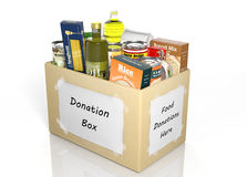 Carton donation box full with products Royalty Free Stock Photos