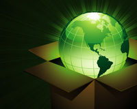 Carton earth. Vector: green earth in the box Royalty Free Stock Photo