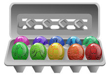 Carton with easter eggs Royalty Free Stock Images