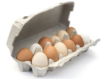 Carton of eggs isolated. stock photos
