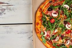 Carton et pizza Image libre de droits