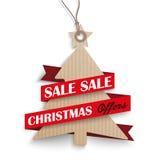 Carton Hanging Christmas Tree Price Sticker Ribbon Stock Photography