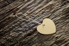 Carton heart shaped label with rope Stock Image