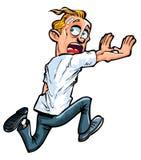 Carton man running from something. Stock Image