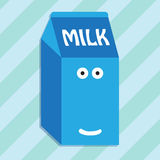 Carton of milk smiling character Stock Photos