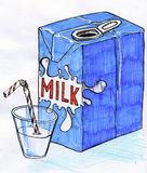 Carton of milk sketch Royalty Free Stock Photo