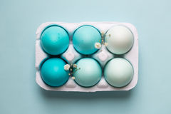 Carton of ombre dyed Easter eggs Royalty Free Stock Photo