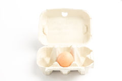 Carton with one egg Stock Photography