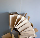 Carton open boxes stacked on curved circle shape Royalty Free Stock Photography