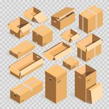 Carton paper box or cardboard post package vector templates set transparent background. Carton box or 3D cardboard post packages on transparent background Stock Image