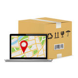 Carton parcel box and laptop with gps map. Royalty Free Stock Photos