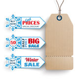 Carton Price Sticker 3 Markers Winter Sale. 3 markers with carton price sticker for winter sale Stock Photography