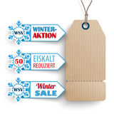 Carton Price Sticker 3 Markers WSV. German text WSV, Eiskalt Reduziert, translate Winter Sale, Frozen Prices Stock Image