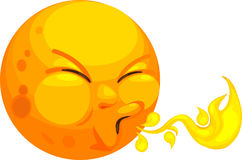 Carton sun blowing flames. Illustration of hot cartoon sun blowing flames, white background Stock Photo