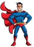 Carton superhero in classic pose Royalty Free Stock Photo