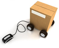 Carton on wheels connected to a mouse Stock Photography