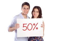 Cartone della tenuta delle coppie con Fotografie Stock Libere da Diritti