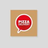 Cartone di consegna della pizza Fotografie Stock