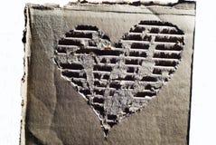Cartone ondulato con cuore Fotografia Stock